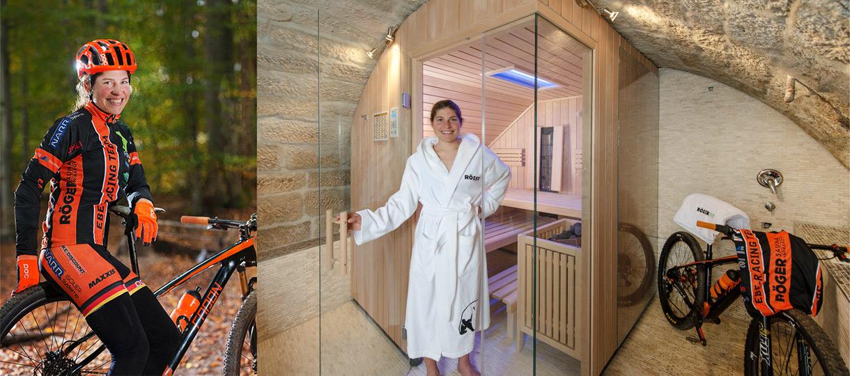 Elisabeth Brandau zuhause in ihrer Sauna.